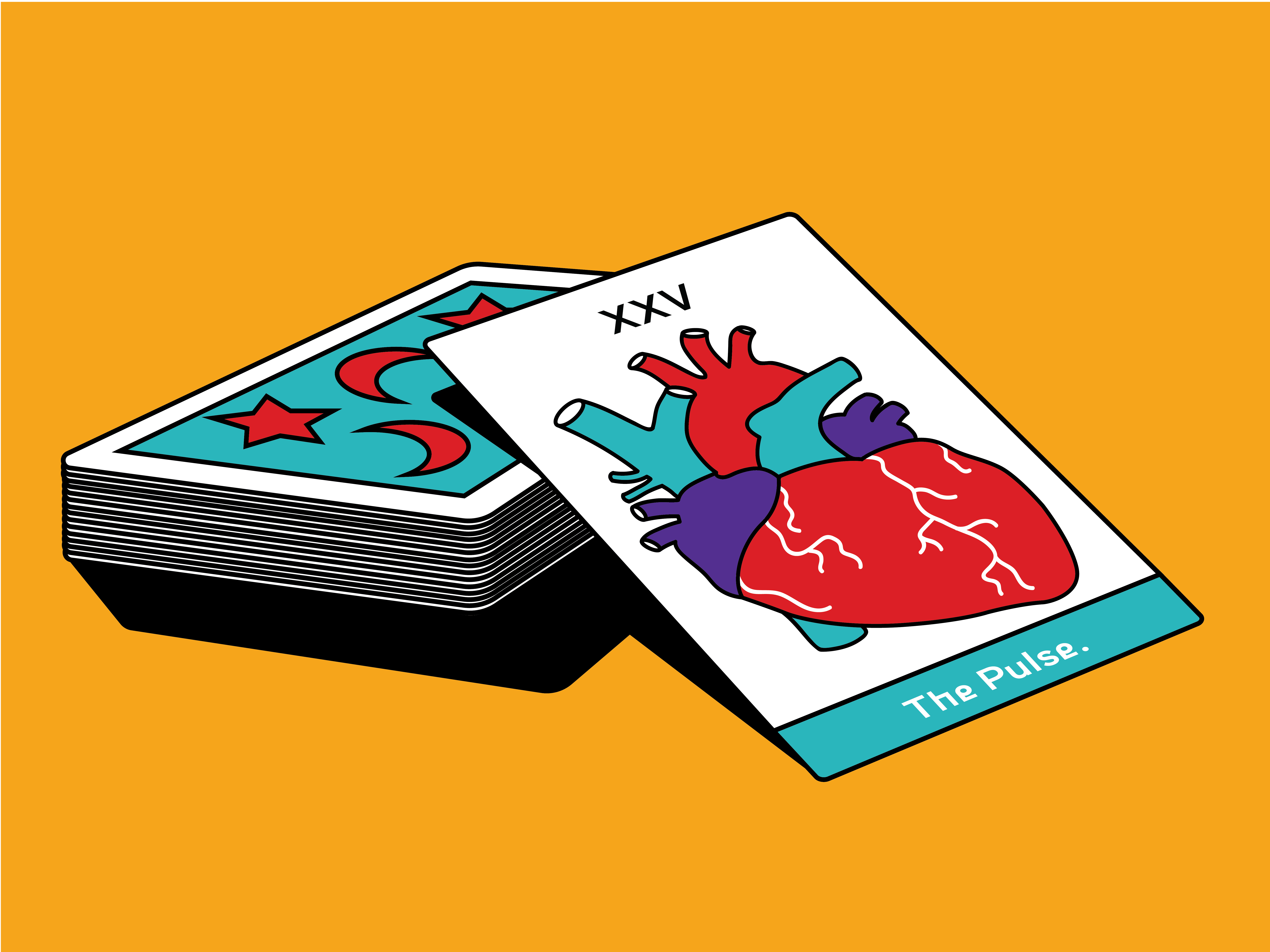 Heartbeat fortune-telling card visual